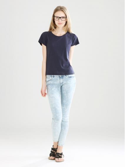 細褶袖圓領衫-深藍
