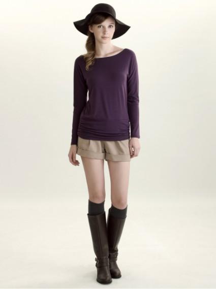 性感一字領顯瘦抽皺上衣-奢華紫