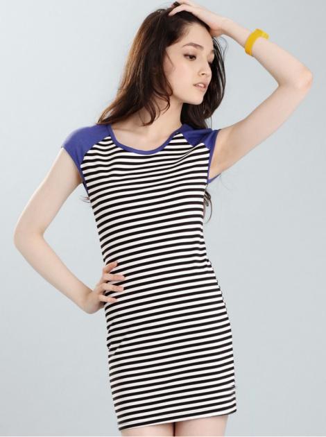 拼接條紋立肩設計洋裝_寶藍