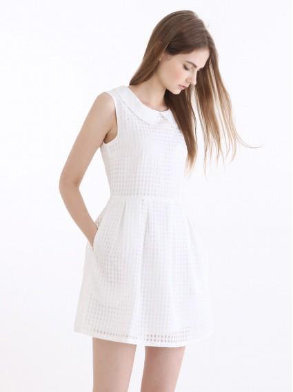口袋細格洋裝-白(寬鬆版)
