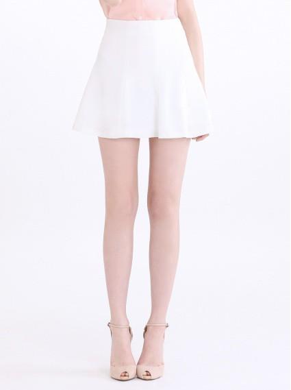 荷葉圓邊裙-白