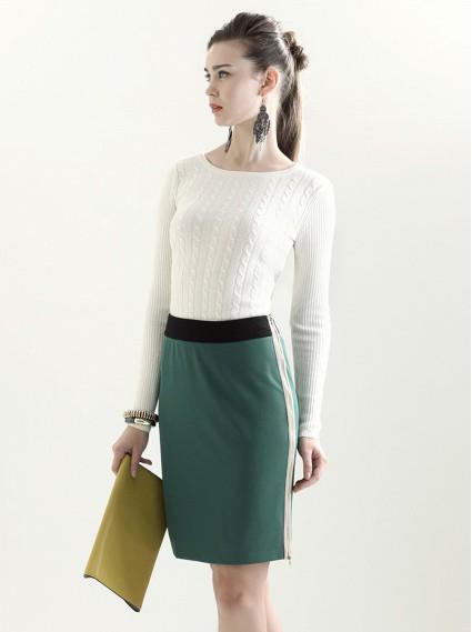 撞色拉鍊後開叉窄裙-綠色