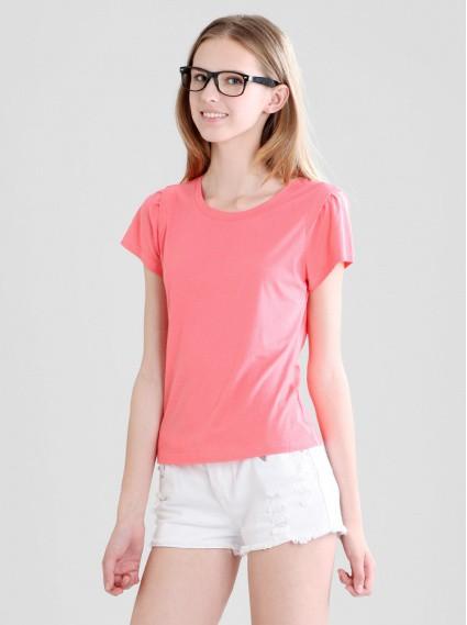 細褶袖圓領衫-玫瑰紅