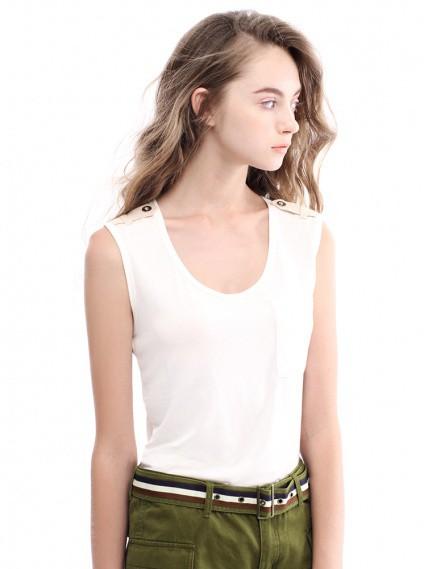 率性肩飾背心-白