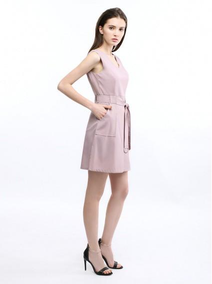 顯瘦綁帶無袖洋裝-藕紫