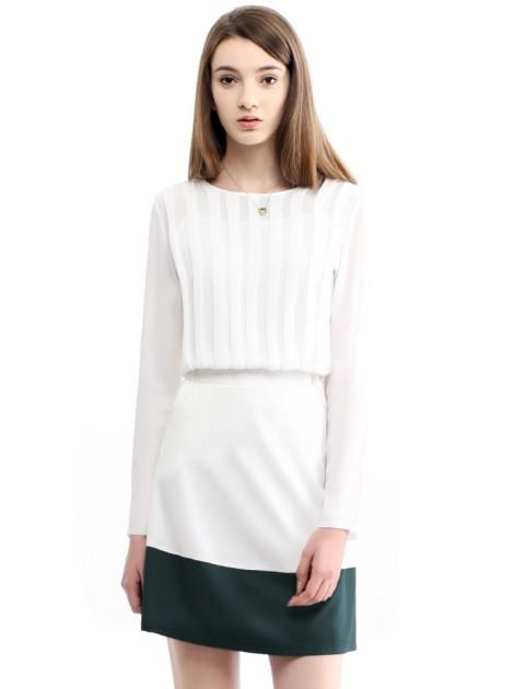 簡約百搭雙色短裙-深綠