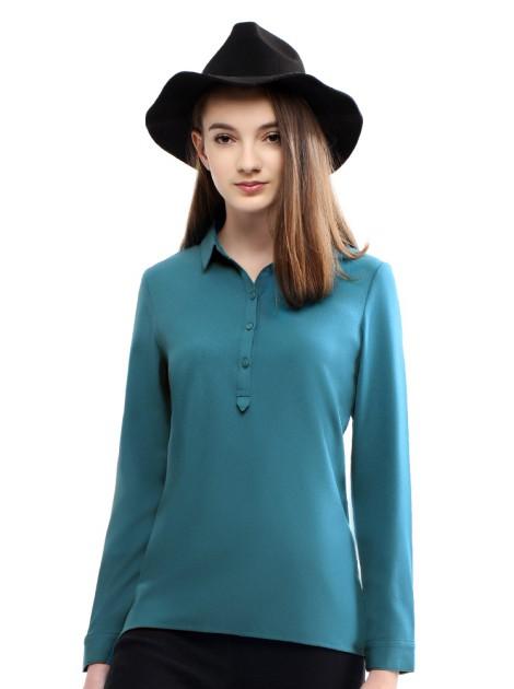 法式開襟雪紡上衣-藍綠
