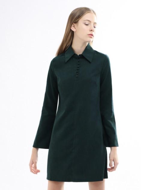 傘袖蜜桃絨洋裝-深綠