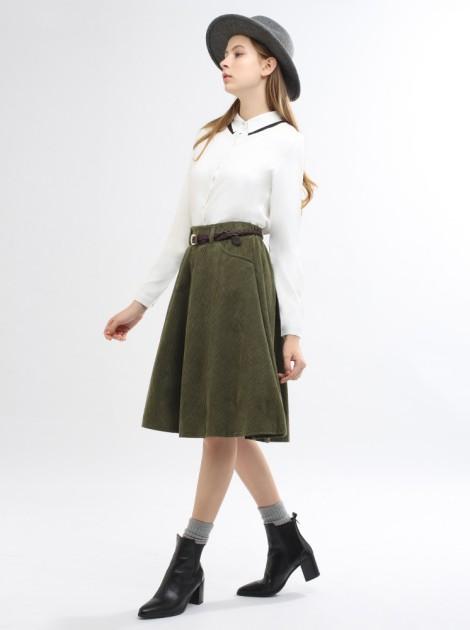 燈心絨口袋長裙(附皮帶)-軍綠