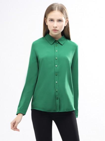 小立領簡約襯衫-綠