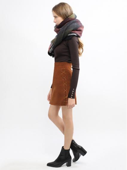 麂皮綁帶雙穿短裙-橘紅