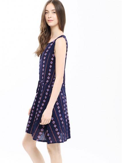 抽繩印花修身洋裝-深藍