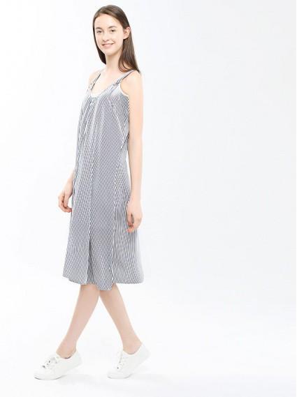 條紋傘型綁帶洋裝-深藍