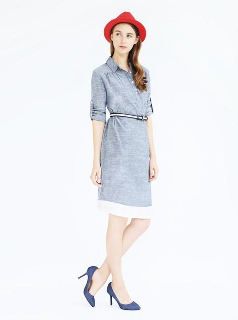 拼接純棉洋裝-深藍