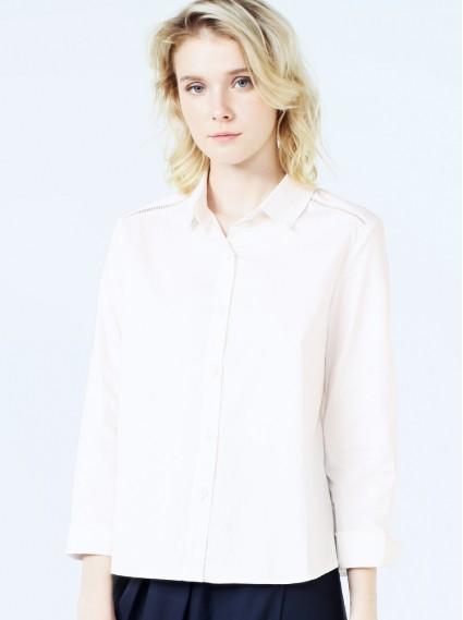 肩織帶襯衫-白