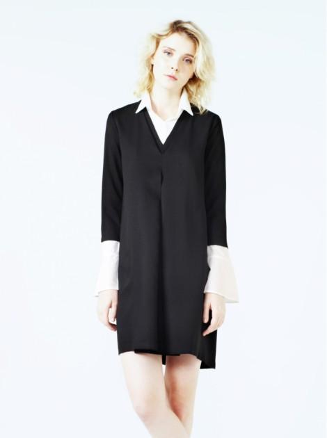 雙層V領口袋洋裝-黑