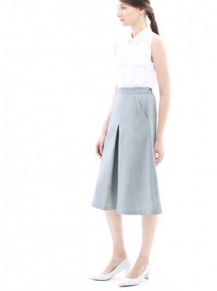 修身纖腿褲裙-淺灰