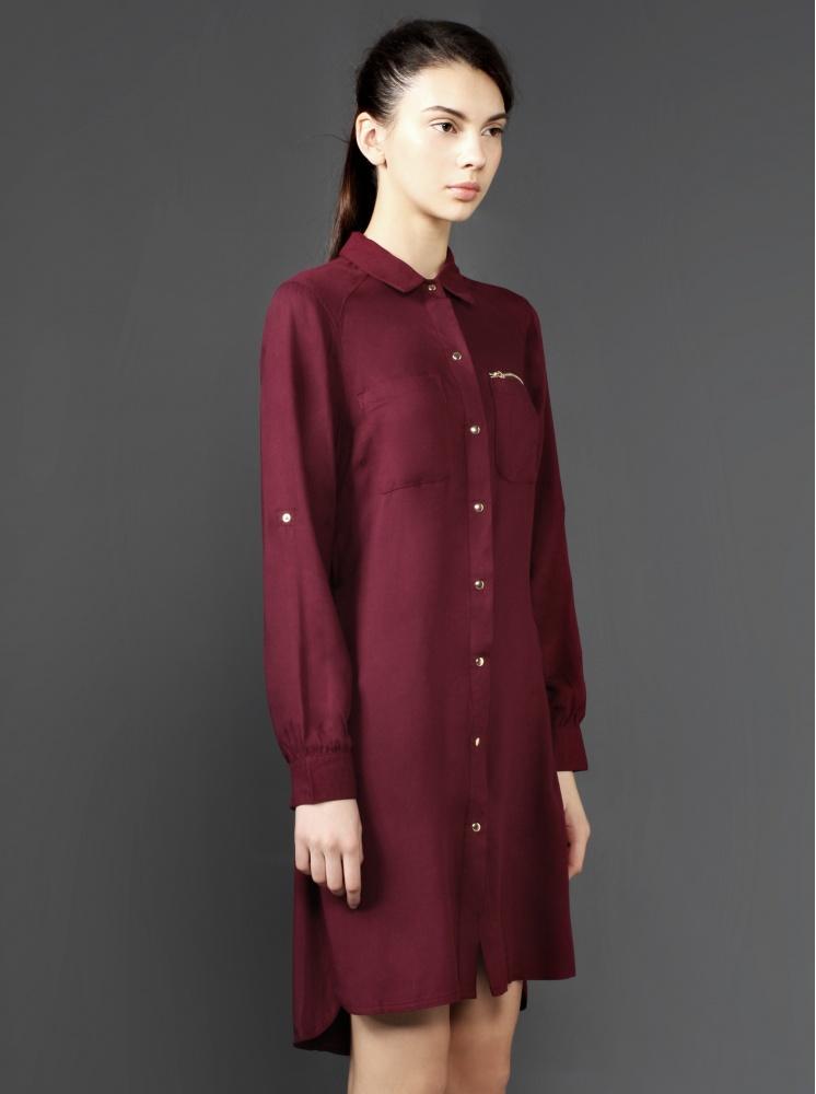 拉鍊口袋綁帶洋裝-暗紅