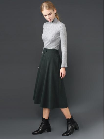 麂皮鬆緊長裙-墨綠