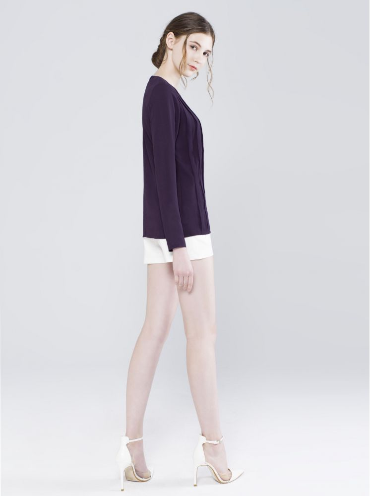 雪紡壓折修身上衣-深紫