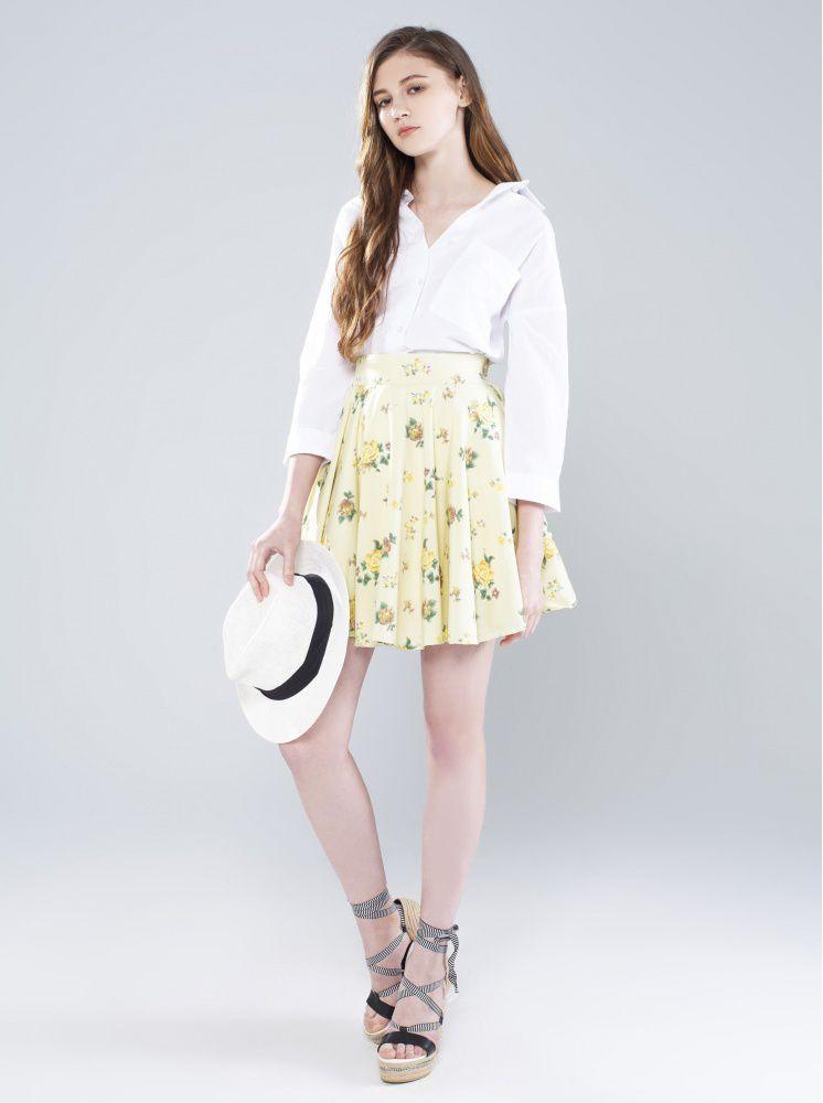碎花短傘裙-米白