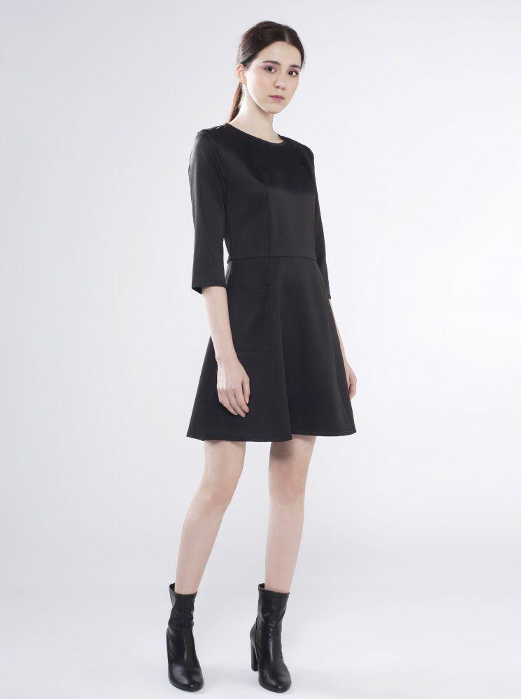 七分袖口袋洋裝-黑