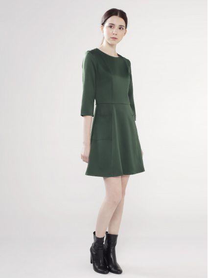 七分袖口袋洋裝-深綠