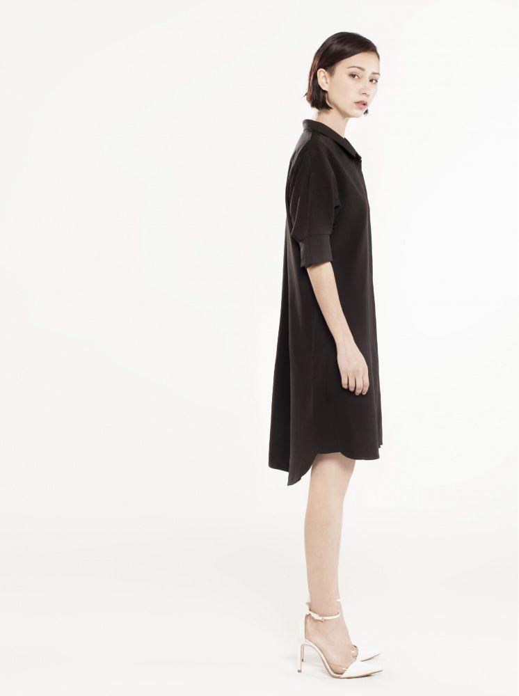 寬鬆襯衫洋裝-黑