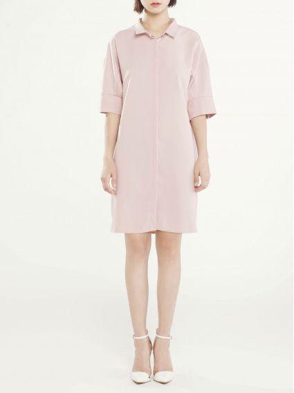 寬鬆襯衫洋裝-粉
