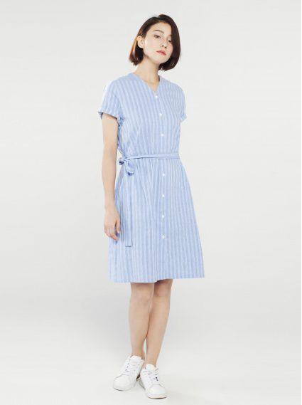 V領條紋鬆緊洋裝-藍