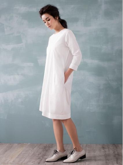 純棉繭型洋裝-米白