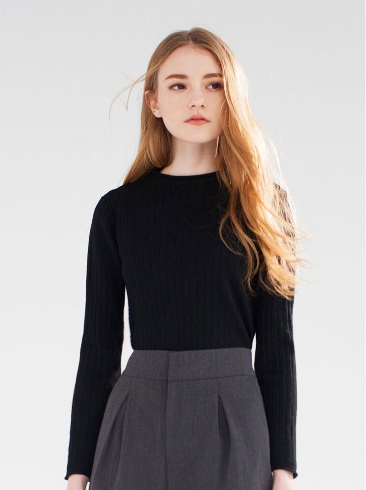 小高領彈力毛衣-黑
