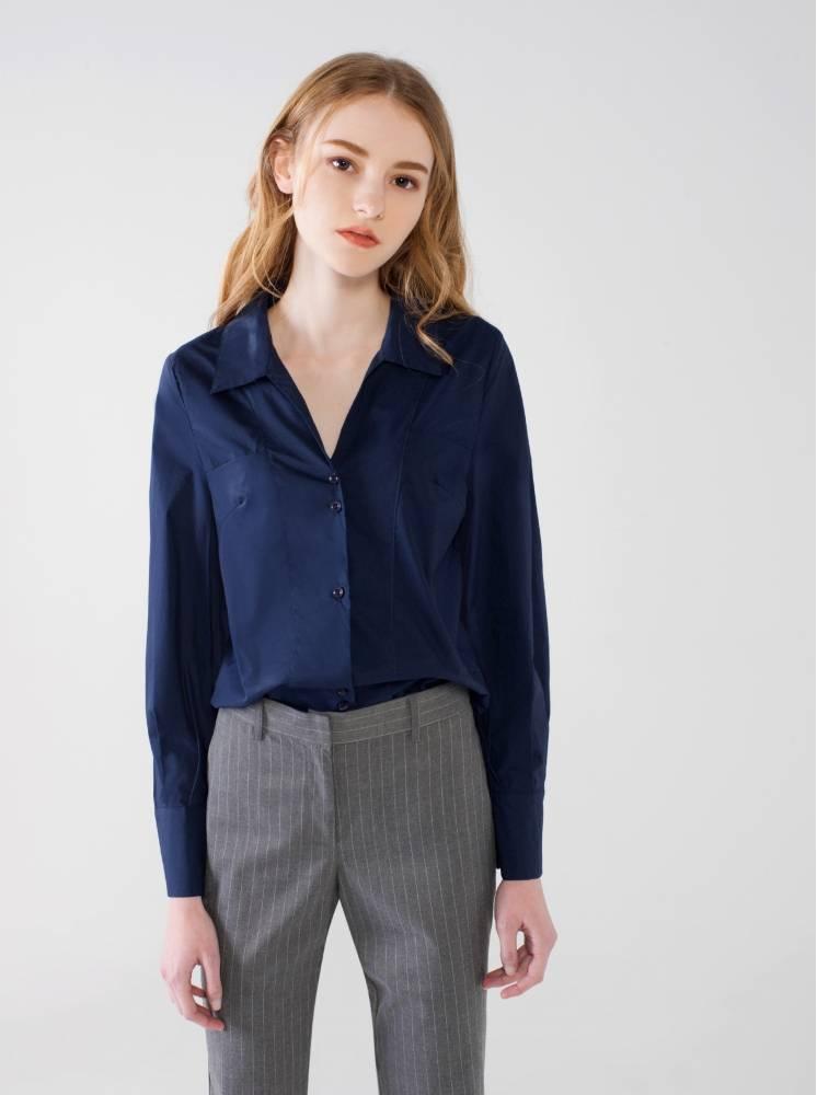 純棉拋袖襯衫-深藍