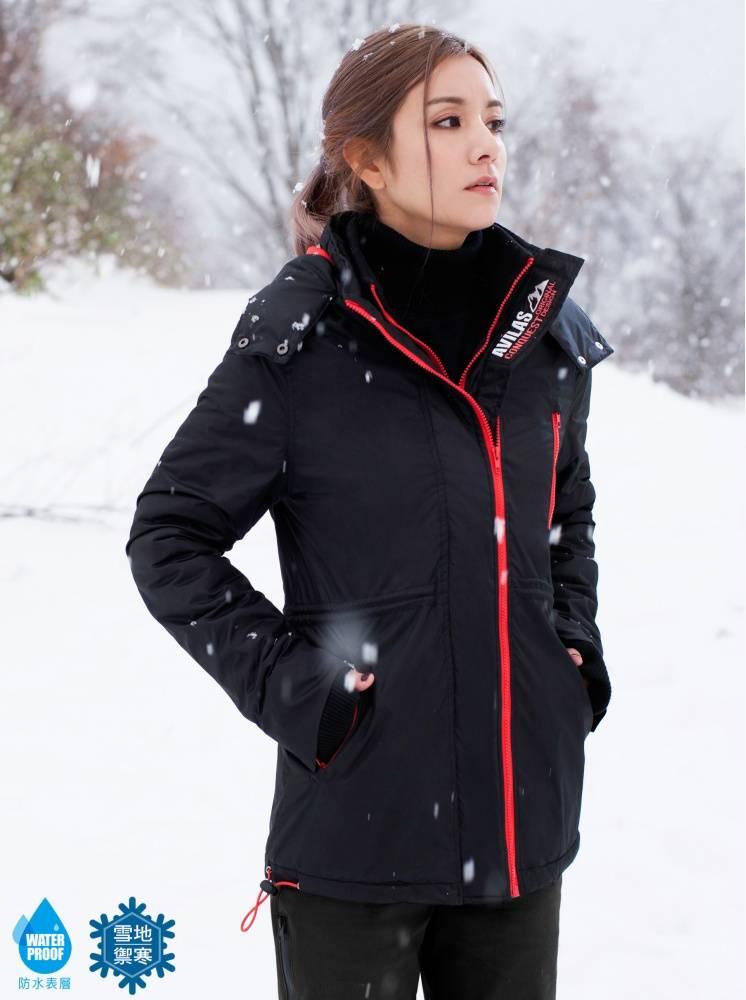 極地升溫防水中長版外套-黑