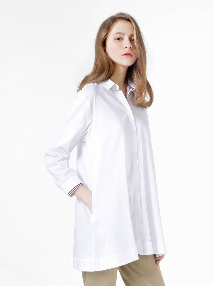 透氣綿長版撞色織帶襯衫-白