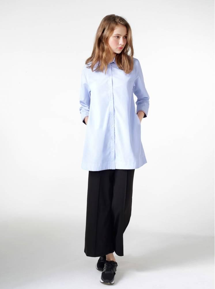 透氣綿長版撞色織帶襯衫-藍