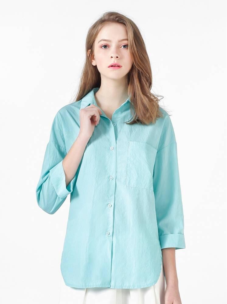 落肩寬鬆棉質襯衫-湖水綠