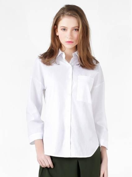 落肩寬鬆棉質襯衫-白