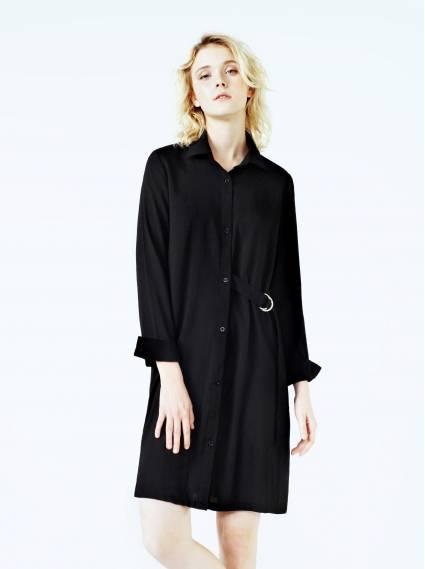 側環釦長版襯衫-黑