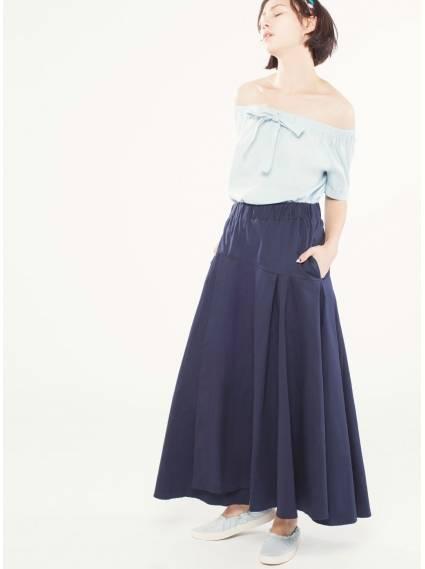 傘狀拼接鬆緊長裙-深藍