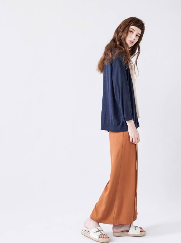 寬鬆針織罩衫-水洗藍