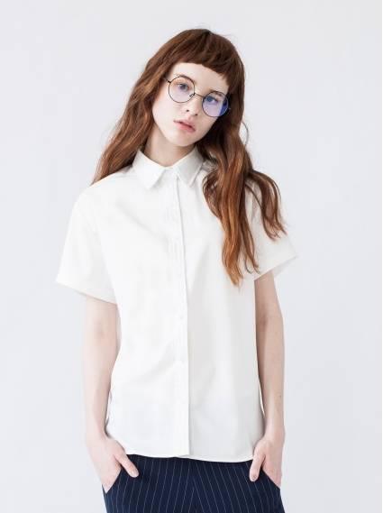 可拆式領片襯衫-白