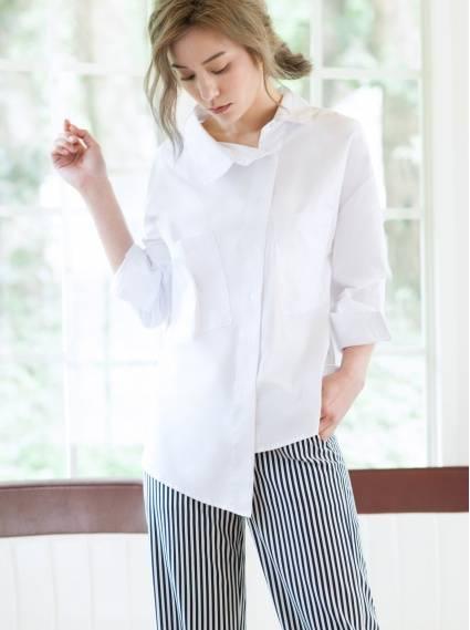 純棉斜襟襯衫-白