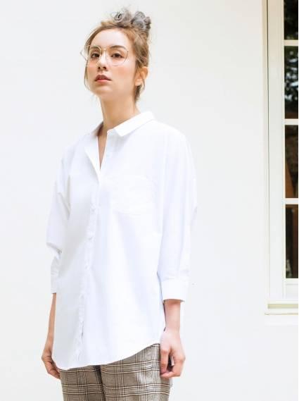 純棉寬鬆七分袖襯衫-本白