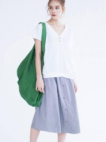 純棉鬆緊口袋裙-黑