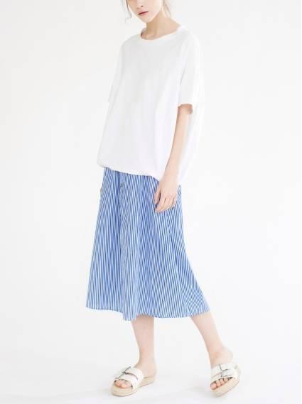 純棉鬆緊口袋裙-藍