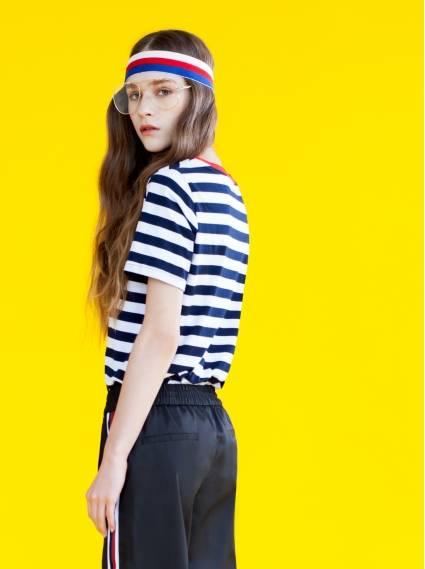 個性女孩條紋T-深藍