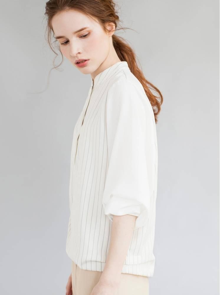 條紋小立領雪紡接袖上衣-白