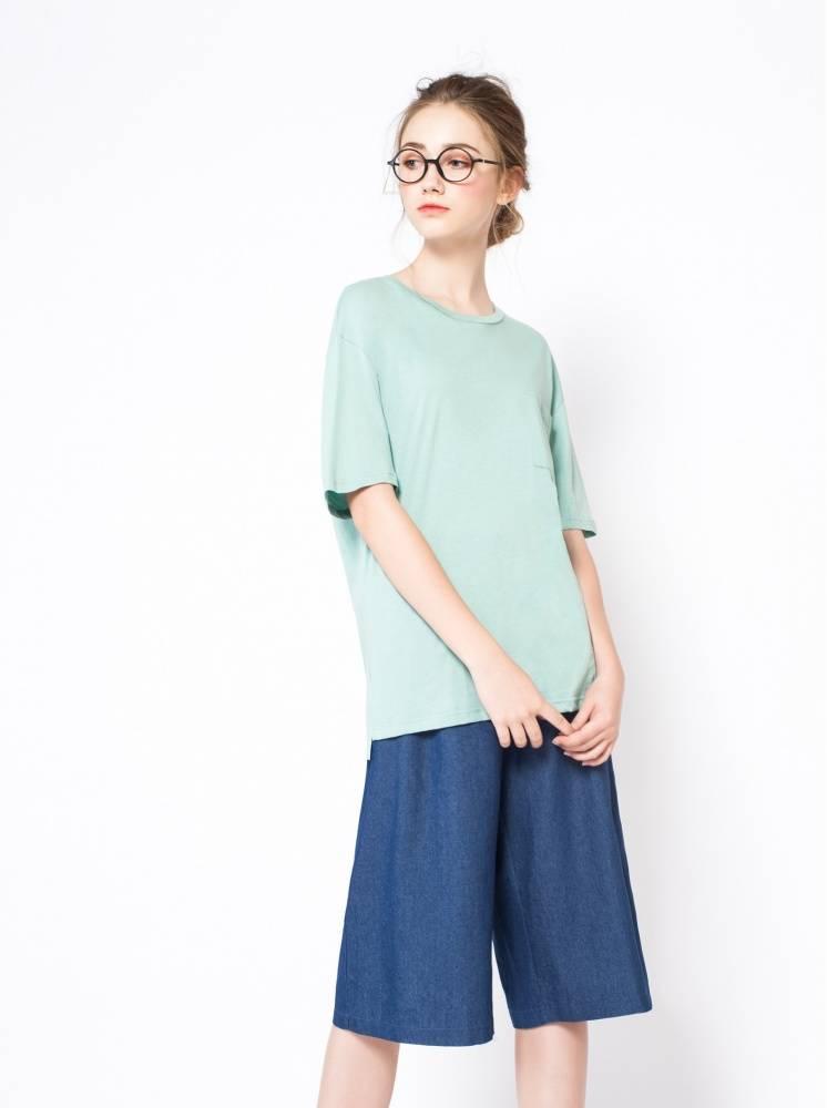 冰絲棉寬鬆口袋T-湖水綠