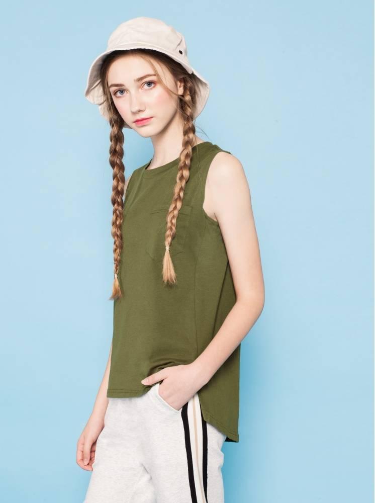 冰絲棉口袋背心-軍綠